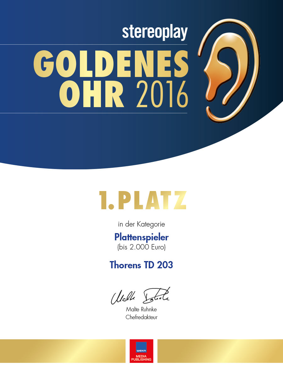 Thorens TD 203 | Goldenes Ohr 2016 Stereoplay